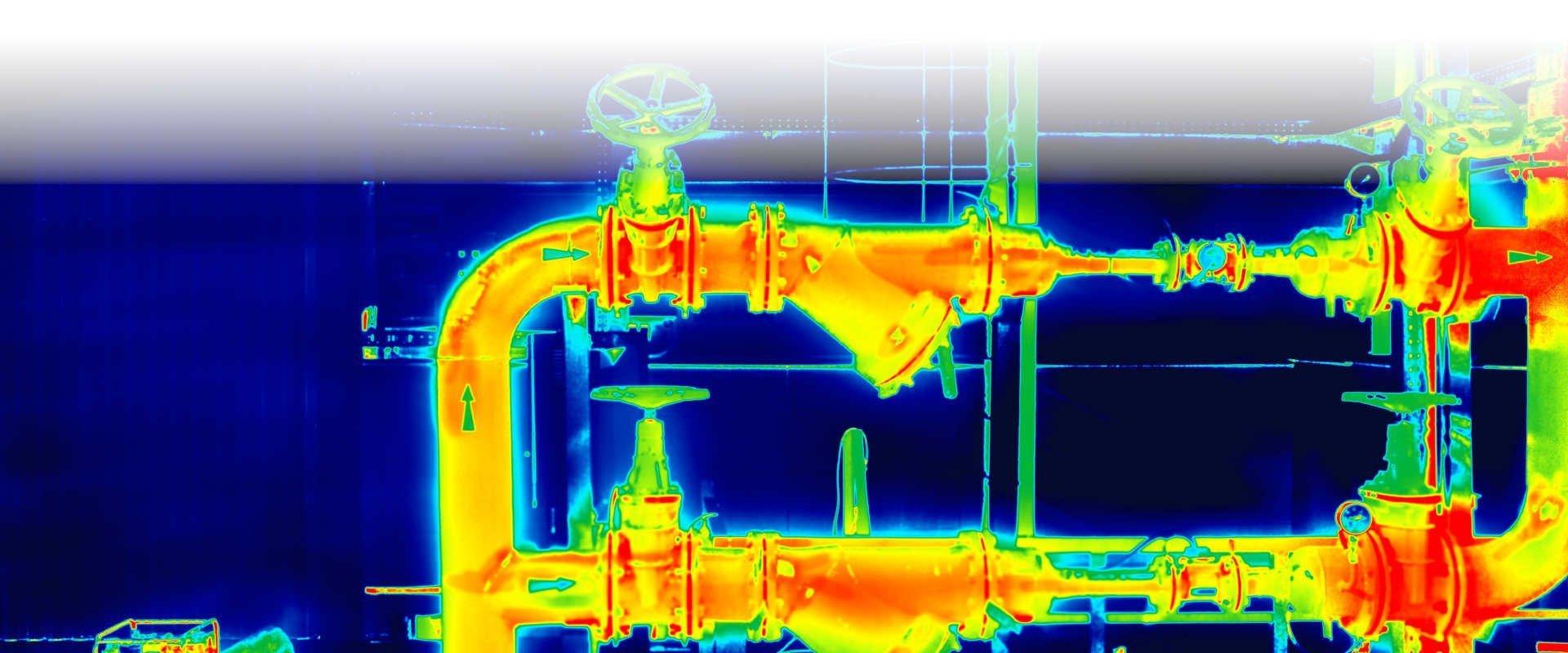 Imagen termográfica de tuberías