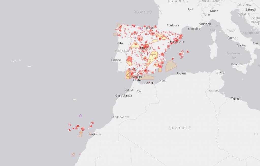 Mapa de la aplicación ENAIRE para drones